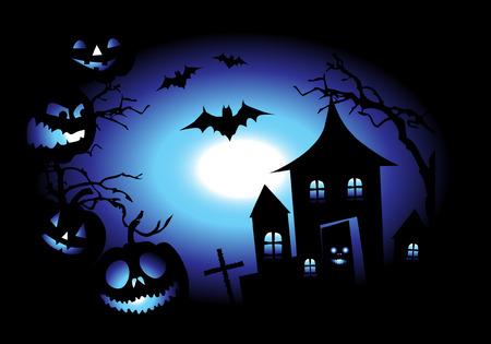 Halloween night background, vector illustration Stock Vector - 3609089