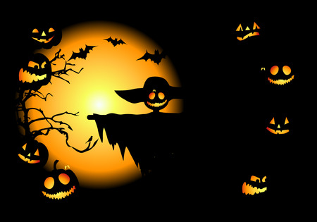 Halloween night background, vector illustration Stock Vector - 3609103