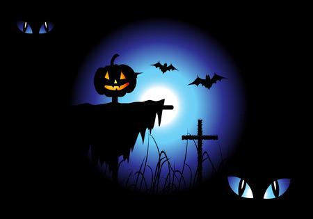Halloween night background, vector illustration Stock Vector - 3609093