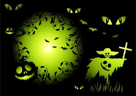 afterglow: Halloween night background, vector illustration