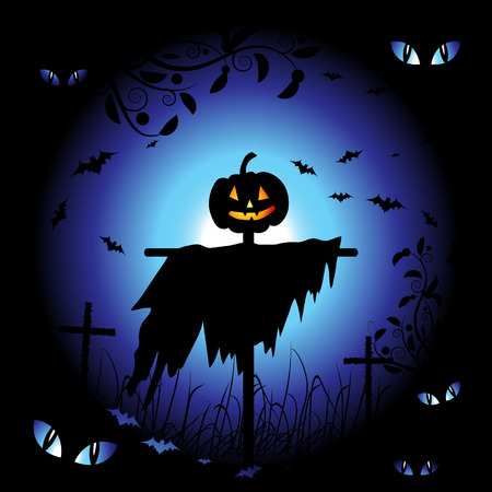 Halloween night background, vector illustration Vector