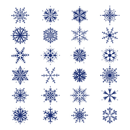 blizzards: Set of 24  beautiful snowflakes collection for your design
