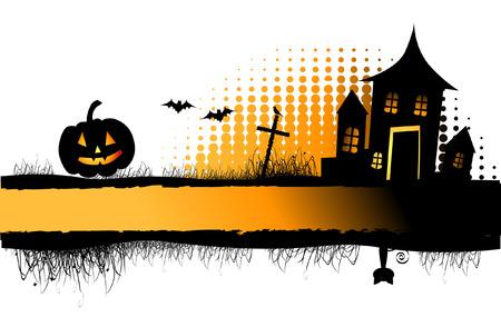 horror castle: Marco de la noche de Halloween