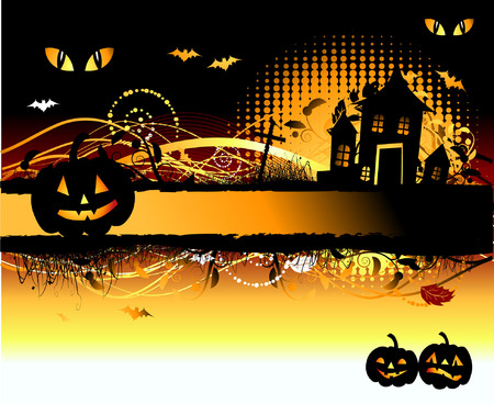 castle silhouette: Halloween night background