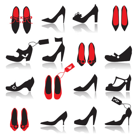 Shoes silhouette collection for your design Vector