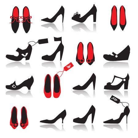 shoe sale: Zapatos silueta de recogida para su dise�o Vectores
