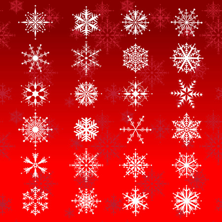 Set of 24 beautiful snowflakes on celebration background Vector
