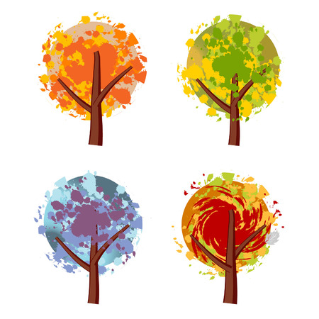 Art tree beautiful, grunge Illustration