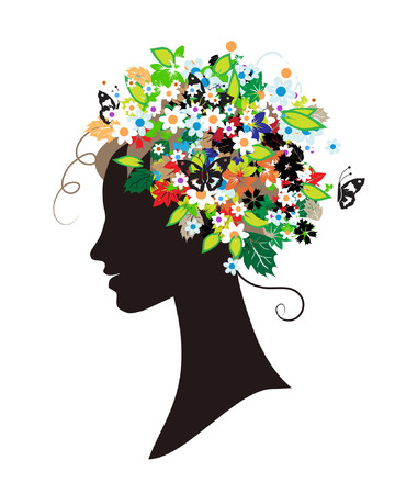 Woman silhouette, floral hairstyle for your design Vector