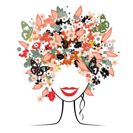 colori: Floral acconciatura, bella donna per il suo design Vettoriali