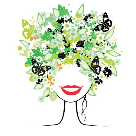Floral acconciatura, bella donna per il suo design Vettoriali