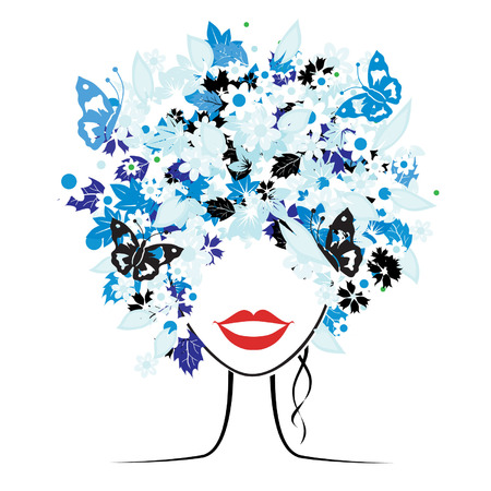 Floral hairstyle, beautiful woman for your design Stock Vector - 3934123