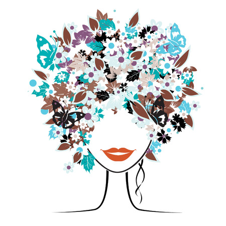 Floral hairstyle, beautiful woman for your design Stock Vector - 3934124