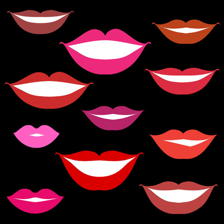 Smiles, lips background Vector