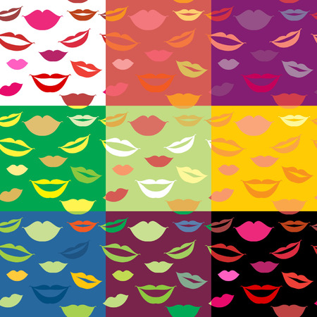Seamless background lips, smiles Vector