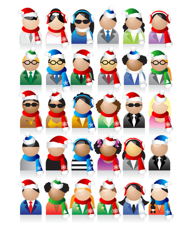 Business people icons, christmas holiday Illustration