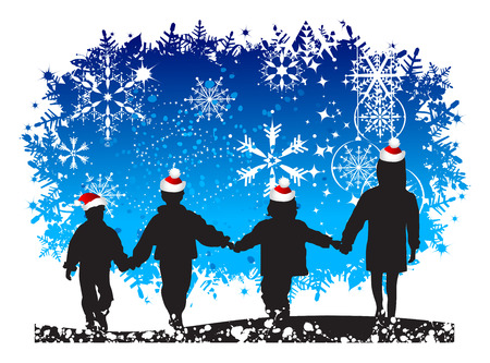 Christmas holiday, happy children Vector