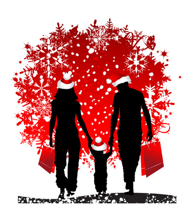 family shopping: Christmas holiday, happy family Illustration