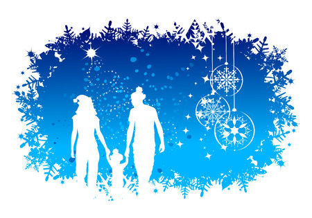 Christmas holiday, happy family Vector