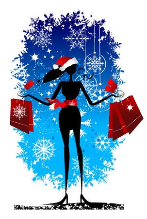 Christmas shopping, fashion woman for yor design Vector