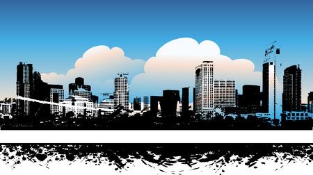 ray trace: Fondo paisaje urbano, arte urbano