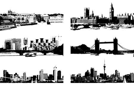Cityscape silhouet zwart voor uw ontwerp