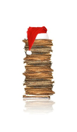 office chaos: Heap of papers, christmas gift Stock Photo