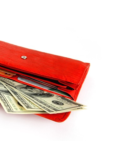 Money wallet red, happy shopping photo