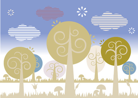 Nature landscape with trees Vector