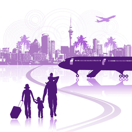 Happy family in airport, cityscape Vector