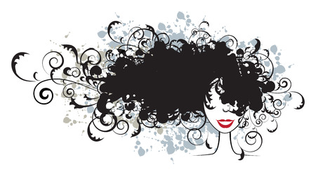 hairstyles: Floral hairstyle, woman face silhouette for your design Illustration