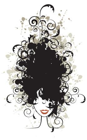 femme noir sexy: Floral de coiffure, d'une femme face � la silhouette de votre conception
