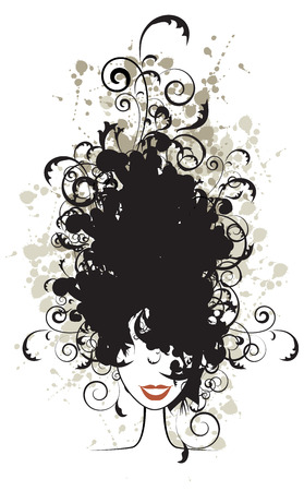 Floral hairstyle, woman face silhouette for your design Illustration