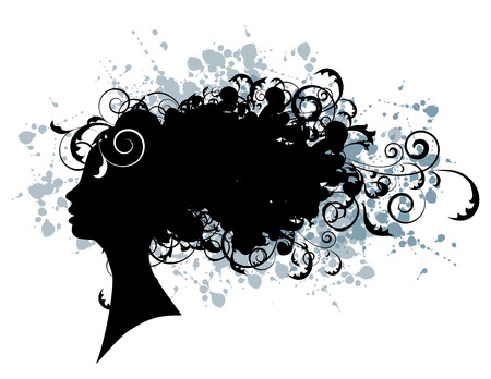 face silhouette: Floral hairstyle, woman face silhouette for your design Illustration