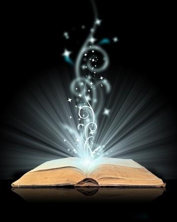 libros abiertos: Abrir el libro de magia en negro