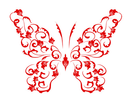 ornamental plant: Butterfly silhouette for you design