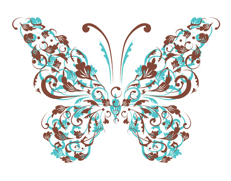 ornaments vector: Butterfly silhouette for you design
