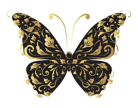 gold floral: Butterfly, ornate for your design Illustration