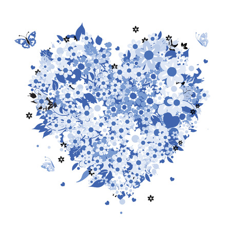 Floral heart shape for your design Vector