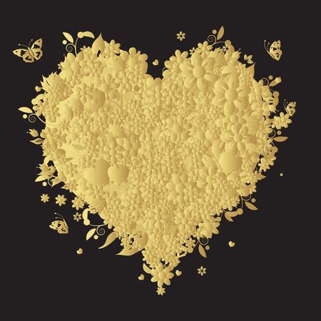 ornate gold frame: Coraz�n floral forma para su dise�o