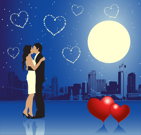 darling: Valentine day, urban scene, couple Illustration