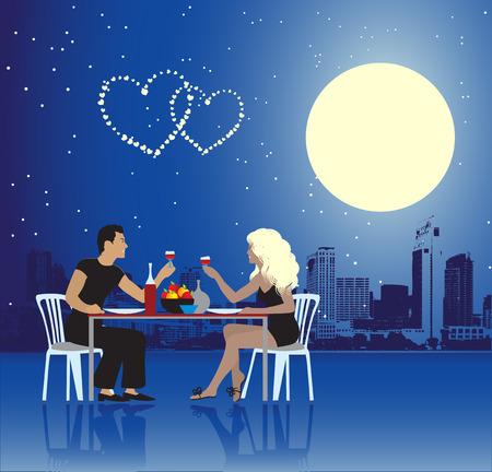 night life: Valentine day, urban scene, couple Illustration