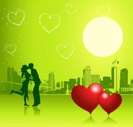 Valentine day, urban scene, couple Stock Vector - 4277564