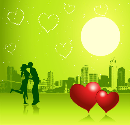 the darling: Valentine day, urban scene, couple Illustration