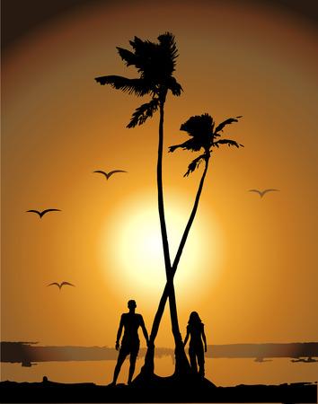 Sunset on the beach Vector