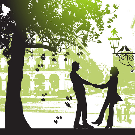 Couple under the tree in city park Vector