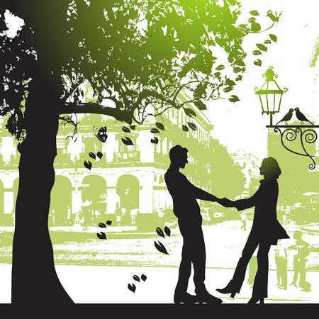 都市公園におけるツリーの下でカップル