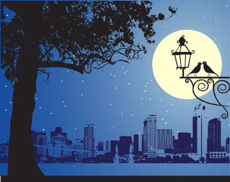 vector lamp: Urban night scene, idyllic