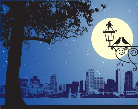 dia y noche: Urbano escena nocturna, id�lico