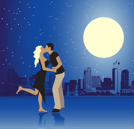 Valentine day, urban scene, couple Vector